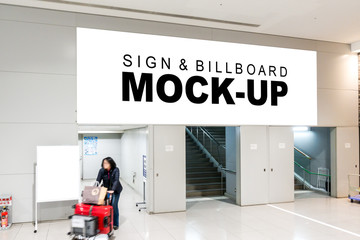 The mock up of large billboard on wall in airport area