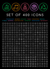 400 Universal Thin Line Black Icons on Circular Buttons ( Business , Multimedia, Education, Ecology, Medical, Fitness, Family, Construction, Transport, Professions, Travel, Restaurant, Hotel )