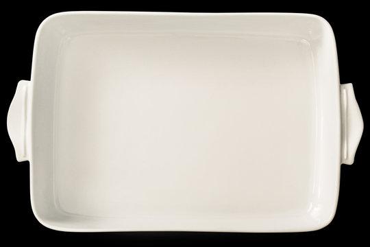 Large White Ceramic Oblong Rectangular Baking Pan Isolated On Black Background
