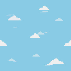 Blue sky with clouds on the shiny day, seamless background. Vector pattern illustration.