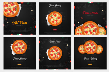 Set of Pizza food menu for restaurant and cafe. Design with hand-drawn graphic elements in doodle style. Vector Illustration