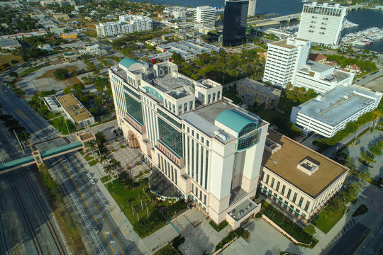 Aerial image Downtown West Palm Beach Florida county municipal court buildings