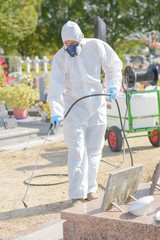 Man spraying chemical weed killer in cemetery