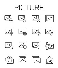 Picture related vector icon set.