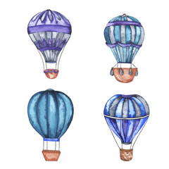 Set of hot air balloons with blue and violet stripes isolated on white background. Hand drawn watercolor illustration.