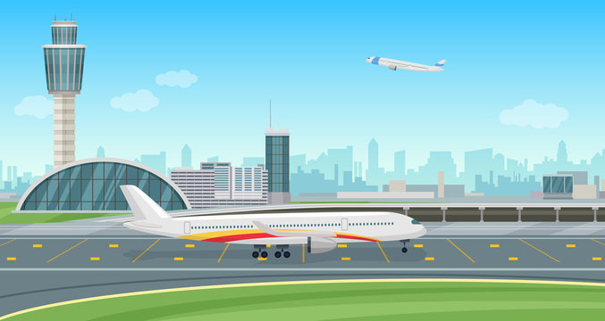 Airport Terminal building with aircraft taking off. Vector airport landscape.