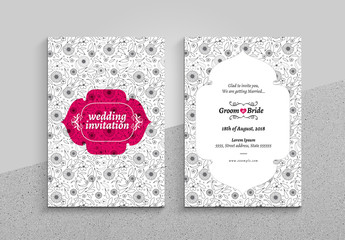 Wedding Invitation Card Layout with Floral Pattern