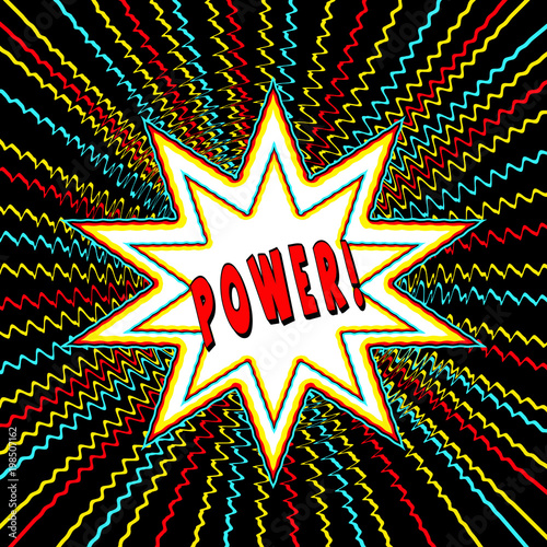 Comic book style star burst graphic surrounded by zig zag shooting ...