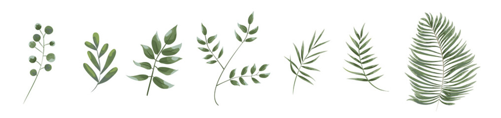 green leaves in the style of watercolor