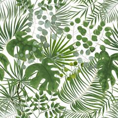 seamless pattern of green leaves. green tropical background in watercolor style. Vector natural, Botanical, elegant pattern.