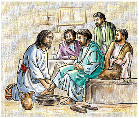 Illustration. Jesus washes the disciples' feet.