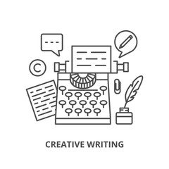 Creative writing silhouettes icons set
