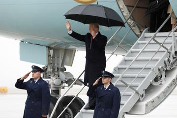 President Donald Trump arrives at Cleveland Hopkins International Airport