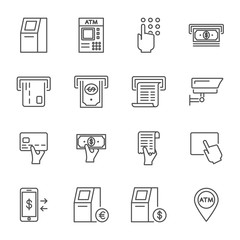 ATM set of vector icons outline style