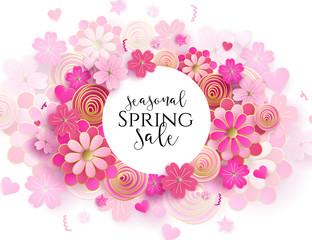Spring season sale offer, banner template. Pink ribbon with lettering and flower, isolated on pink background. Feminine sale tag. Shop market poster design. Vector illustration. Elegant luxury design.
