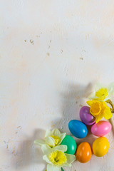 Easter colorfull eggs. Light background. Isolated.