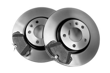 set of new brake discs. Isolate on white background.