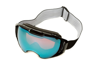 Ski glasses with a blue lens. Isolate on white