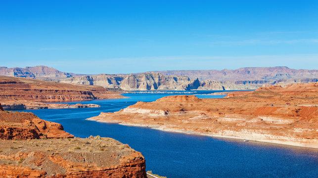 Lake Powell on the border between Utah and Arizona, United States.