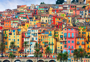 Colorful houses in old part of Menton, French Riviera, France Fototapete