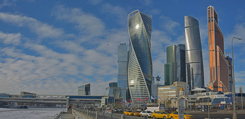 """Business quarter of Mooskva """"Moscow city"""": view from Moskva River Embankment"""