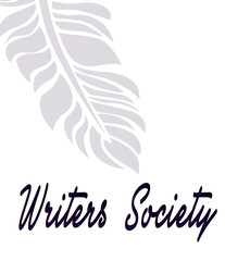 The community of writers is an idea for a beautiful logo - a shadow of contour feather, close-up. Happy writer's day