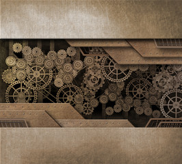 Complex machinery steam punk design background with clock gears and mechanical style