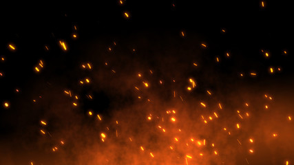 Burning red hot sparks fly away from large fire in the night sky. Beautiful abstract background on the theme of fire, light and life. Fiery orange glowing flying particles over black background in 4k