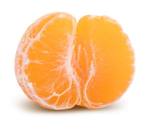 Fresh mandarin isolated with shadow on white background. Clipping path