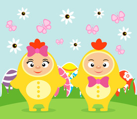 Happy Easter card with funny kids in costume chickens