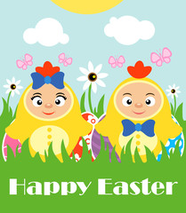 Happy Easter with kids in costume chickens