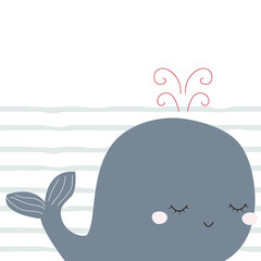 Childish print with cute little whale. Vector hand drawn illustration.