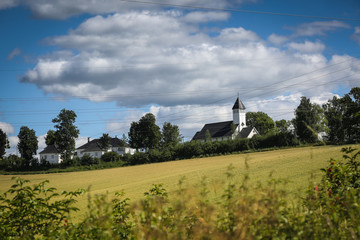 Church in Norway on sunny weather and blue sky