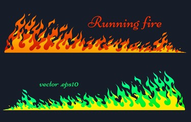 Running fire horizontal planks. Flaming bars, old school flame elements, isolated vector illustration, two variants of coloring Wall mural