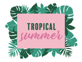 card template with calligraphic text and tropical leaves