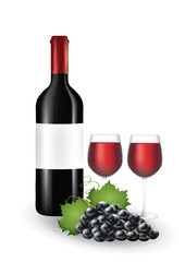 Wine bottle with glasses and grapes, vector