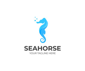 Sea horse logo template. Sealife vector design. Marine animal logotype