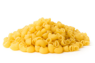 Bunch of pasta on a white background.