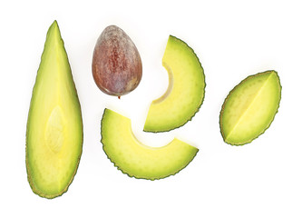 Avocado pieces set isolated on white background, top view