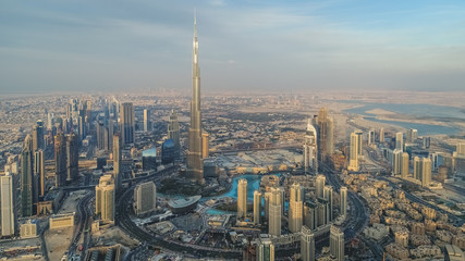Aerial view of Burj Khalifa Tower and skyscrapers in Dubai.