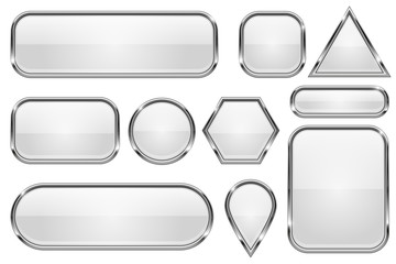 White glass buttons with chrome frame. Set of shiny 3d web icons