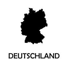 Germany,Deutschland black country border map.
