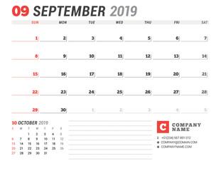 Calendar template for September 2019. Business planner. Stationery design. Week starts on Sunday. 2 Months on the page. Vector illustration