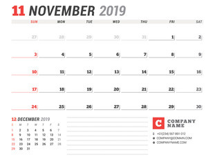 Calendar template for November 2019. Business planner. Stationery design. Week starts on Sunday. 2 Months on the page. Vector illustration