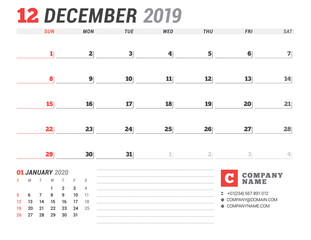 Calendar template for December 2019. Business planner. Stationery design. Week starts on Sunday. 2 Months on the page. Vector illustration