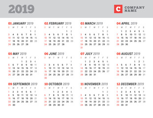 Calendar template for 2019 year. Stationery design. Week starts on Sunday. 12 Months on the page. Vector illustration