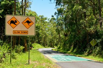 Foto op Canvas Oceanië Koalas and Kangaroos. Drive Slowly traffic sign along the road in Australia.