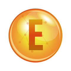 Vitamin E capsule. Vector icon for health. Gold shining pill.