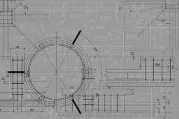 Fototapeta Background of architectural technical drawing obraz