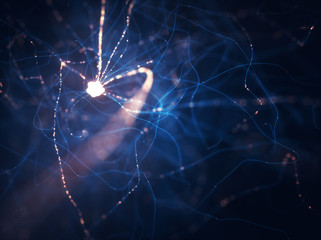 Neurons electrical pulses. Interconnected neurons with electrical pulses.